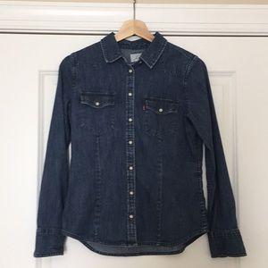 Dark indigo long sleeved button down denim shirt